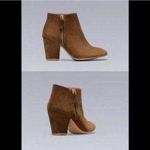 Zara leather suede brown zip block heel booties
